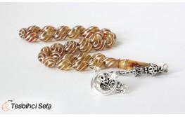 Çeşmi Bülbül Gümüş İşlemeli Özel Yapım Kehribar Tesbih