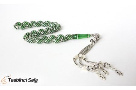 Çeşmi Bülbül Gümüş İşlemeli Özel Yapım Yeşil Kehribar Tesbih