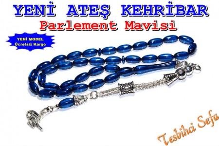 Ateş Kehribar Tesbih - Parlement Mavisi - 2
