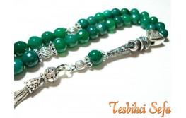Gümüş Aksesuarlı Yeşil Akik Tesbih